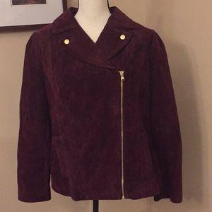Isaac Mizrahi Live wine suede jacket, Size 14